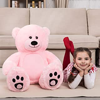 WOWMAX 3 Foot Giant Teddy Bear Daney Cuddly Stuffed Plush Animals Teddy Bear Toy Doll for Birthday Christmas Pink 36 Inches