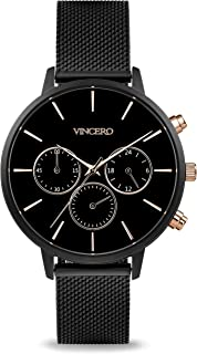 Vincero Luxury Womans Kleio Wrist Watch with a Mesh Watch Band — 38mm Chronograph Watch —