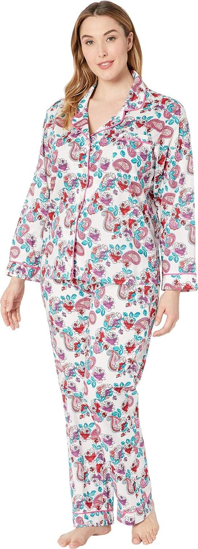 BedHead Pajamas Women's Plus Size Long Sleeve Classic Notch Collar Pajama Set