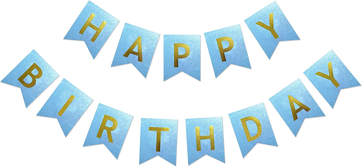 Maplelon Pre-Strung All items free shipping Glitter Birthday Banner Blue Bun Cheap mail order specialty store Party Bday