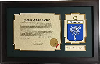 Toussaint - Coat of Arms and Last Name History, 14x22 Inches Matted and Framed