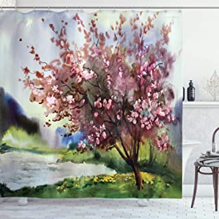 Ambesonne Country Shower Curtain, Painting of Spring Landscape Blooming Nature Flowering Tree and Fresh Grass Nature, Fabr...