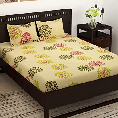 Story@Home Majestic Collection 100% Cotton 152 TC Floral Pattern 1 Double Bedsheet with 2 Pillow Cover - Cream कपासडबलबेडशीट