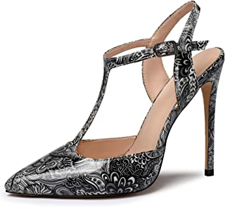 EDEFS Scarpe con Tacco Donna,Scarpe con Chiusura a T Donna,Sandali con T-Bar Donna,12CM High Heel