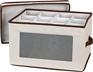 Household Essentials 542 Vision Storage Box with Lid and Handles | Wine and Balloon-Style Glasses | Natural Canvas with Brown Trim