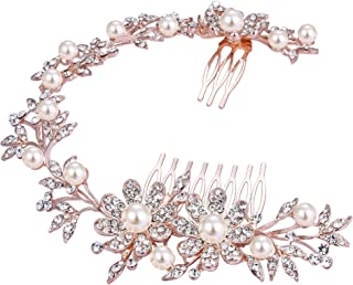 BriLove Women's Bohemian Wedding Bridal Daisy Flower Crystal Ivory Color Bling Bridal Headband Hair Comb
