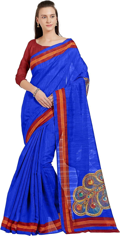Sourbh Women's Bhagalpuri Printed Saree Party Dress Sari (5517_Royal bluee,Red,orange)