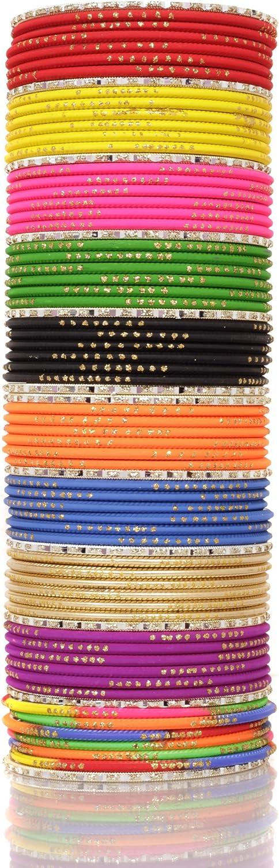 SANARA Indian Bollywood Multi color Plain Churi bangle for women & Girls wedding wear bangles Bracelet Churi set jewellery