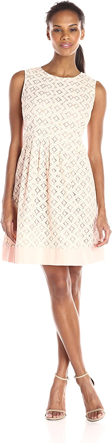 JessicaHoward Womens Sleeveless Pintuck Fit and Flare Dress