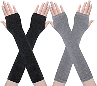 Amandir 2-4 Pairs Long Fingerless Gloves for Women Arm Warmers Knit Thumbhole Stretchy Gloves