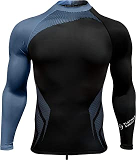 Mens Rash Guard Long Sleeve Surf Shirt Swimsuit - Quick Dry Sun Protection Clothing UPF 30+/50+
