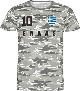 Griechenland Camouflage T-Shirt WM 2018 Trikot Style Fußball Nummer ALL 10