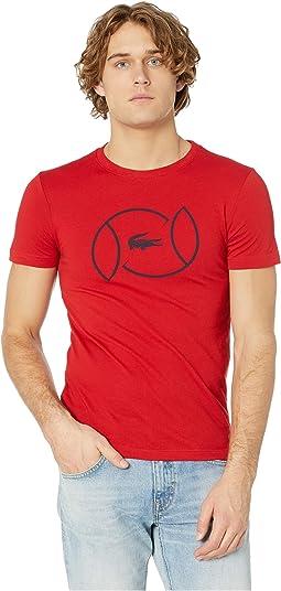 Sport Short Sleeve Tech Jersey T-Shirt w/ Tennis Ball Strong Print
