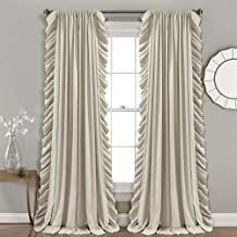 مجموعة ستائر نافذة عاجية للديكور من لوش لغرفة المعيشة وغرفة الطعام وغرفة النوم (زوج) 84 × 54 × 84 انش
