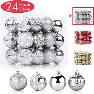 Aitsite 24 Pack Christmas Tree Ornaments Set 2.36 inches Mini Shatterproof Holiday Ornaments Balls for Christmas Decorations (Personalized Silver)