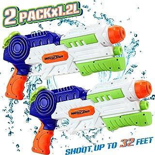 lenbest Pistolet à Eau, 2 Pack Super Water Guns avec 1.2L Grande Capacité & 10M..