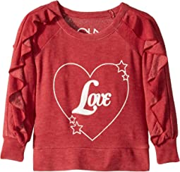 Extra Soft Love Heart Ruffled Long Sleeve Pullover (Toddler/Little Kids)