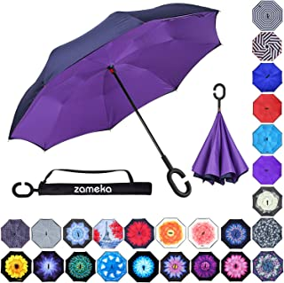 Z ZAMEKA Double Layer Inverted Umbrellas Reverse Folding Umbrella Windproof UV Protection Big Straight Umbrella Inside Out Upside Down for Car Rain Outdoor with C-Shaped Handle, N Purple