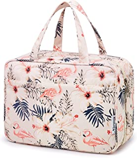 Large Hanging Toiletry Wash Bag Makeup Cosmetic Organizer for Women Girls Kids Waterproof (Beige Flamingo)