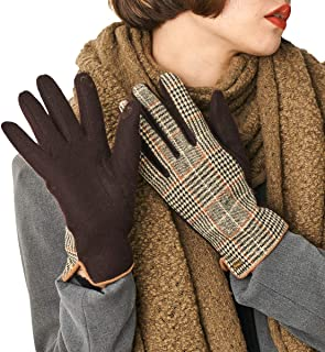 CACUSS Women Winter Wool Gloves Touchscreen Texting Finger Tips with Warm Thermal Fleece Lining