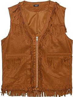 COOFANDY Mens Western Cowboy Waistcoat Costume Hippie Casual V Neck Zipper Suede Vintage Leather Fringe Jacket