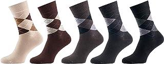 Mat & Vic's Calcetines Clásicos de Vestir para Hombre y Mujer, Algodón, Certificado Oeko-Tex 100, cómodos (5 pares, Jeans Mix 2, UK 9-12 / EU 43-46)