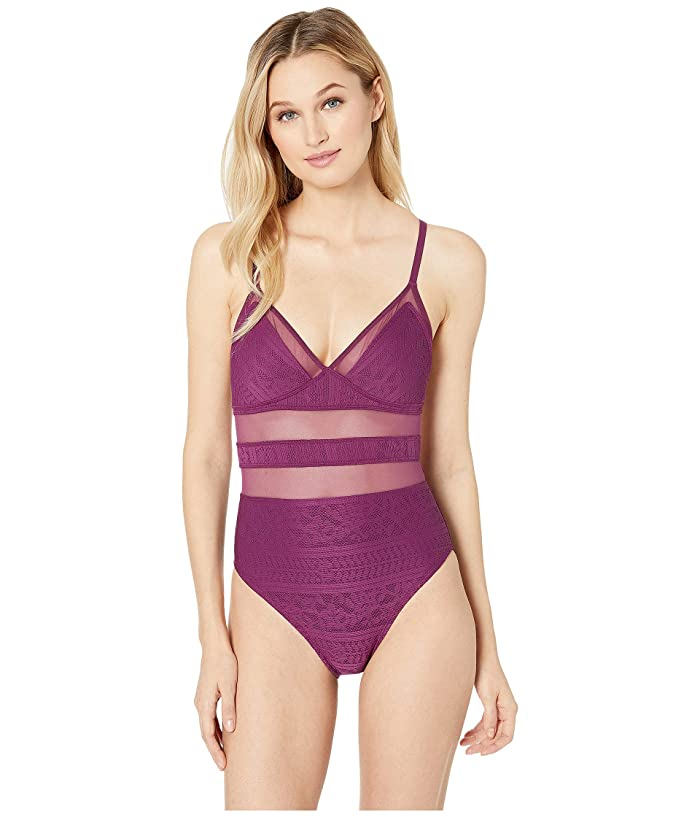 8a2783742f Bleu Rod Beattie Chic Peek Over the Shoulder Cross-Back Mio with Removable  Cup (Cherry Wine) Women's Swimsuits One Piece