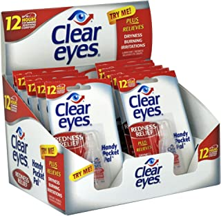 Clear Eyes Eye Drops, Redness Relief, Handy Pocket Pal 0.2 Fl Oz (Pack of 12)