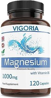 Magnesio VIGORIA - Alivia el cansancio y la fatiga - Salud muscular y ósea - Refuerza el sistema nervioso - Ayuda a dormir mejor - Con vitamina B6 para una alta absorción - 1000 mg 120 cápsulas Vegan
