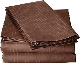 Blue Ridge Home Fashions Elle 1000 Thread Count Cotton-Rich Pinstripe Sheet Set, California King, Chocolate