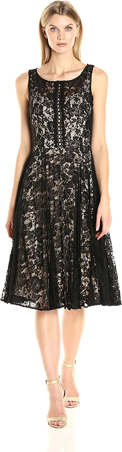 Julian Taylor Womens Sleeveless All Over Lace Dress with Sunburst Pleating Dress