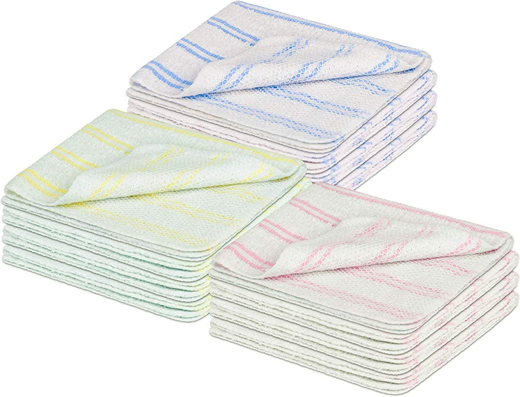 DecorRack Scrubber Dish Cloth 12 X 12 In With Poly Mesh Scour Side Premium Dishcloths Ultra Absorbent Durable White With Blue Pink And Yellow Strips 12 Pack