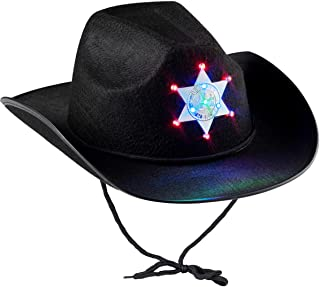 Black Sheriff Hat (1-Pack) Sheriff Cowboy Light Up Hat with Blinking Badge and Neck Draw String, Fit For Kids Boys And Gir...