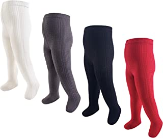 Baby Girls' Cotton Tights, Red Cream Cable Knit 4-Pack, 9-18 Months (M)