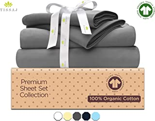 500-Thread-Count Organic Cotton Bed Sheets-Set - 500TC Queen Size Gray - 4 Piece Bedding - 100% GOTS Certified Extra Long Staple, Soft Sateen Weave Bedsheets - Fits 15