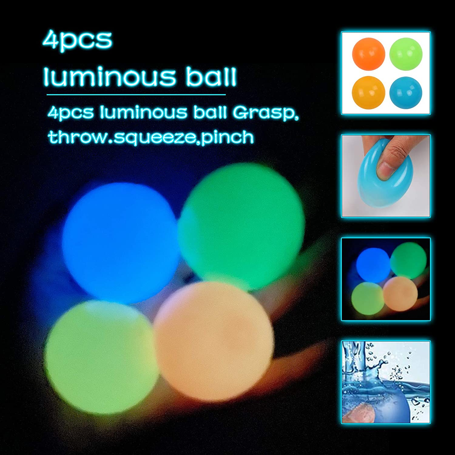 Anxiety Glow in The Dark Decompression Toys Balls Stress Relief Toys for Kids and Adults 4Pcs, 65mm Funny Toy for ADHD OCD Aiwpstoin 4//8Pcs Luminescent Stress Relief Balls Ceiling Sticky Ball