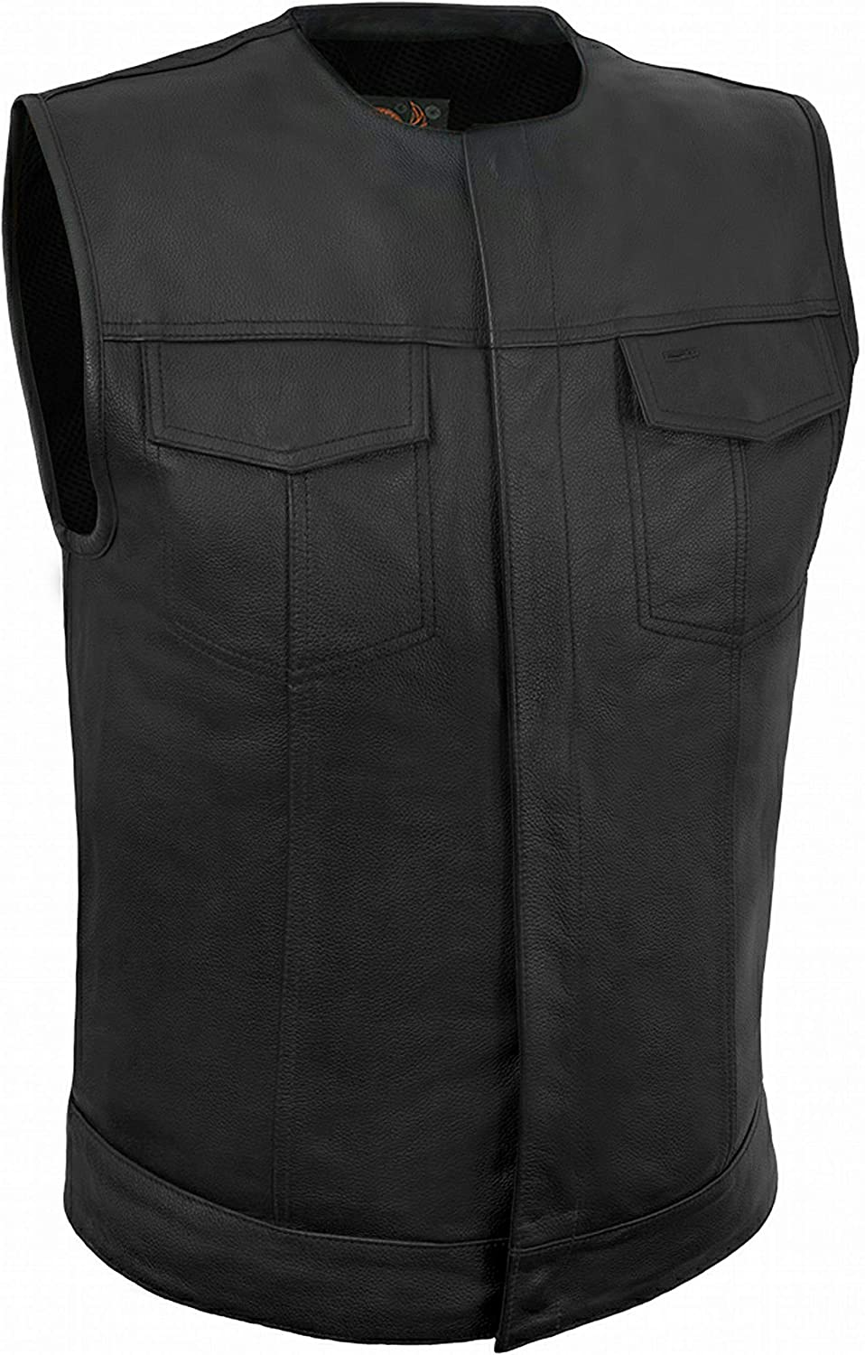 True Element Mens Collarless Club Style Leather Motorcycle Vest w/concealed carry pockets (Black, X-Large)