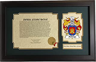 Astorga - Coat of Arms and Last Name History, 14x22 Inches Matted and Framed