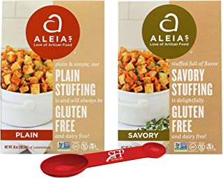 Thanksgiving Stuffing Mix Variety Pack, Gluten Free, Includes: (1) Aleia's Savory Herb Stove Top Stuffing, 10 Oz. (1) Aleias Gluten Free Plain Stuffing, 12 Oz. With a Bonus Measuring Spoon Included.