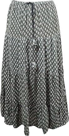 Mogul Interior Womens Bohemian Skirt Printed Crinkle Cotton Gypsy Flirty Maxi Skirts