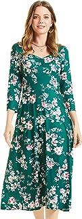 SONJA BETRO Women's Printed Knit Shirred V-Neck Fit & Flare Midi Dress Plus Size