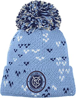 adidas MLS New York City FC Women's Fan Wear Cuffed Pom Knit Beanie, One Size, Blue