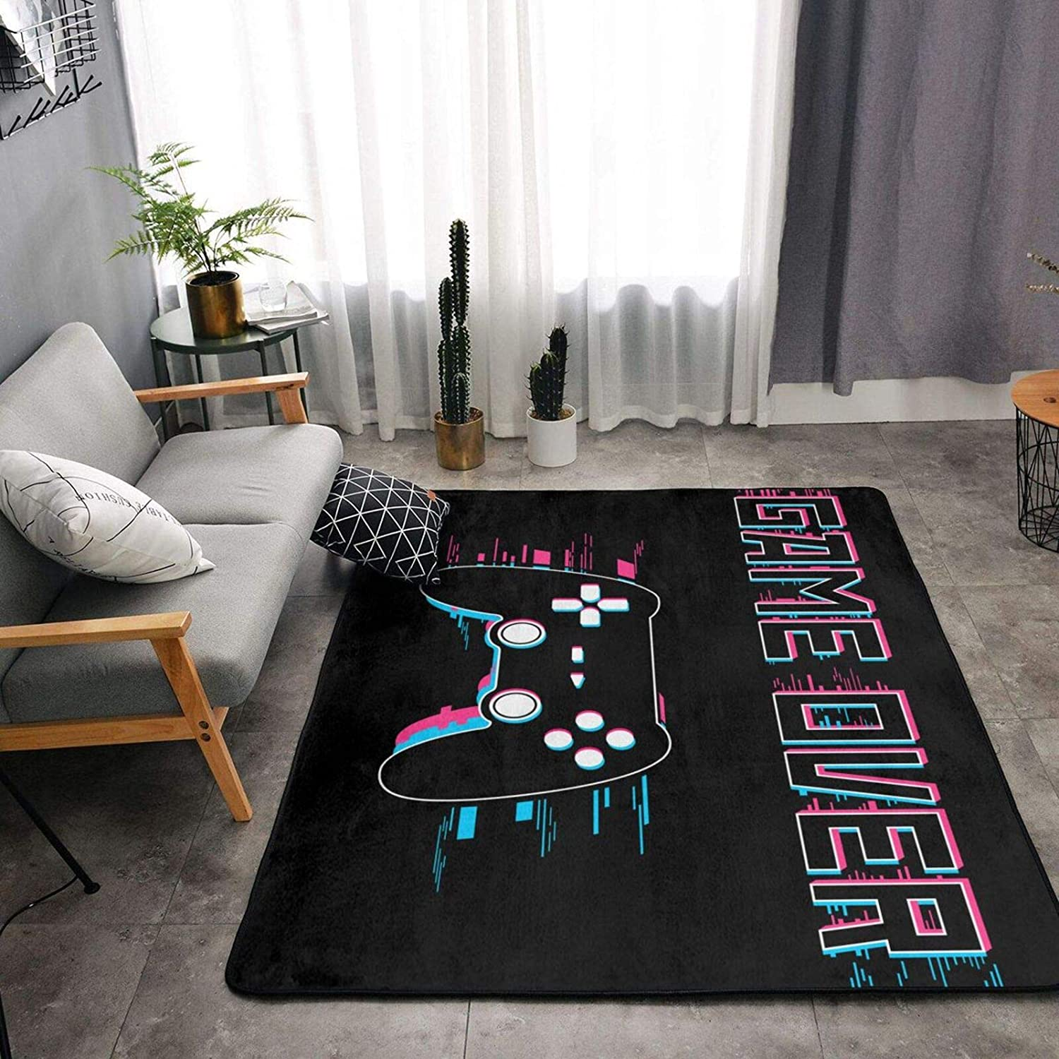 Shiny Game Over Gamer Max 69% OFF Gaming Luxury Ultra Rug Opening large release sale Soft Area Anti-Ski