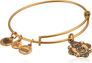 Alex and Ani Womens Because I Love you, Mom Charm Bangle Bracelet, Rafaelian Gold, Expandable