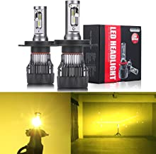 Alla Lighting S-HCR 2018 Newest Version H4 LED Headlight Bulbs High Power 10000Lm All-in-One LED H4 Bulb Dual Hi/Lo Beam Headlamp Conversion Kits HB2 9003 H4 LED Bulbs, 3200K Yellow (Set of 2)