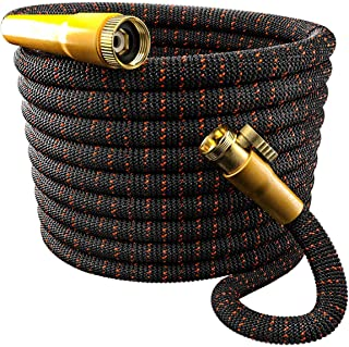 TBI Pro Garden Hose Expandable and Flexible - Super Durable 3750D Fabric | 4-Layers Flex Strong Latex | No-Rust Brass Connectors with Pocket Protectors - Water Hoses for Gardening(50FT Hose Only) New