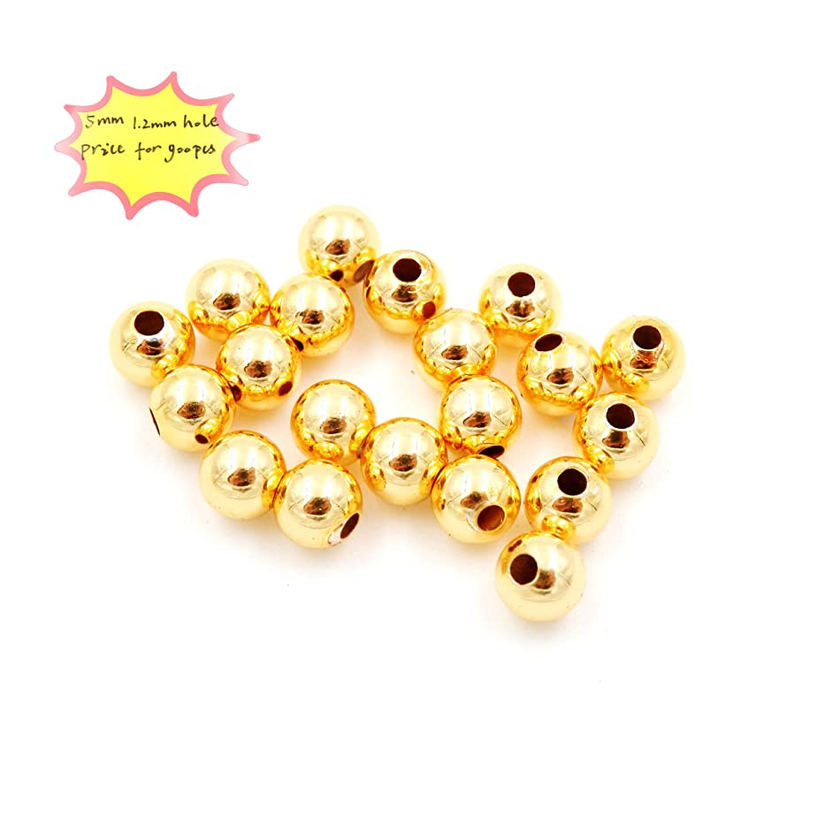 Jewelry findings, Metal Beads for Jewelry Making, Sold per Bag 900pcs Inside (5mm Gold)