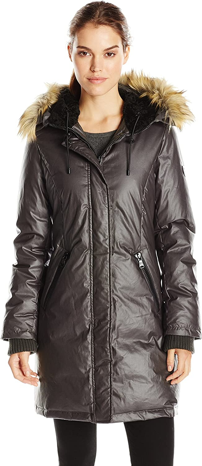 Vince Camuto Outerwear Women's Down Coat with Faux Fur