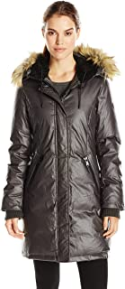 Women's Down & Feather Fill Coat with Inset Vest, Iron, Large