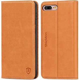 SHIELDON iPhone 8 Plus Case, iPhone 7Plus Case, Genuine Leather iPhone 8 Plus Wallet Case Book Design with Flip Cover and Credit Card Slot Magnetic Closure Compatible with iPhone 7 Plus - Brown